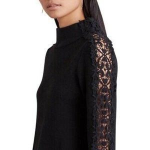 Anthro Knitted & Knotted Lace Funnel Neck Sweater